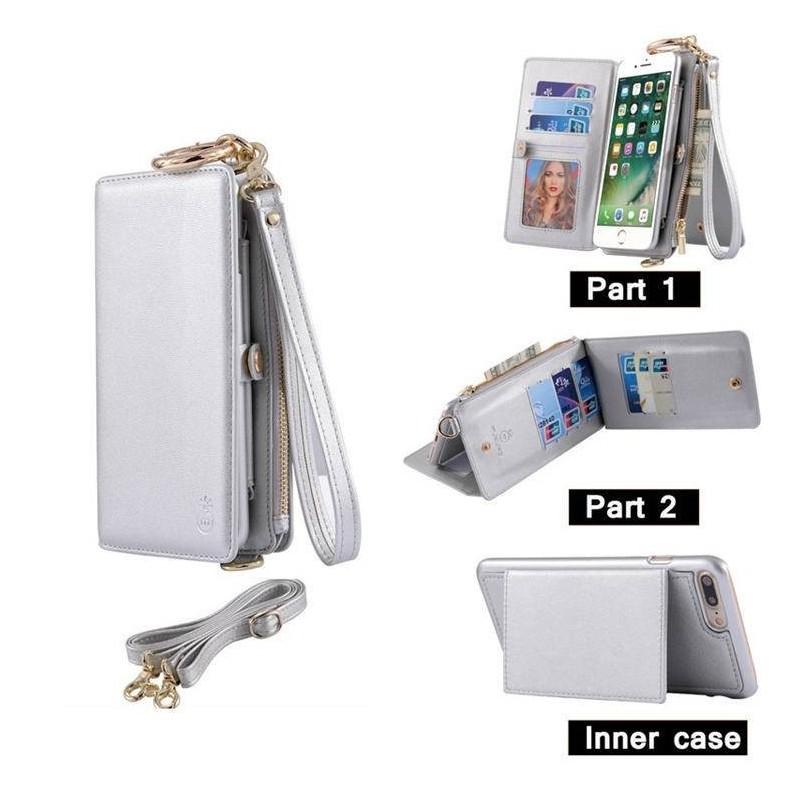 iPhone 6(S)plus - Porte Monnaie pochette similicuir multifonctionnel - Argenté