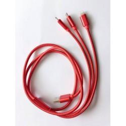 Câble 3 en 1 multifonction Durable Tressé lighting Micro USB pour iphone samsung
