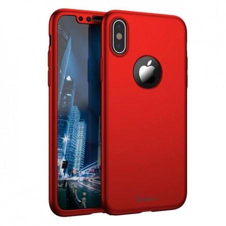 iphone X - Coque complèteabs Rouge avec protection écran en verre