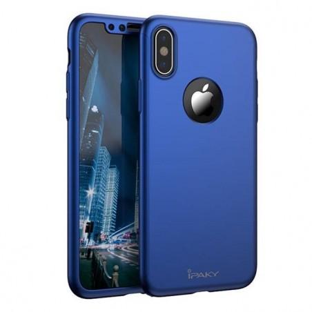 iphone X - Coque complèteabs Bleue avec protection écran en verre