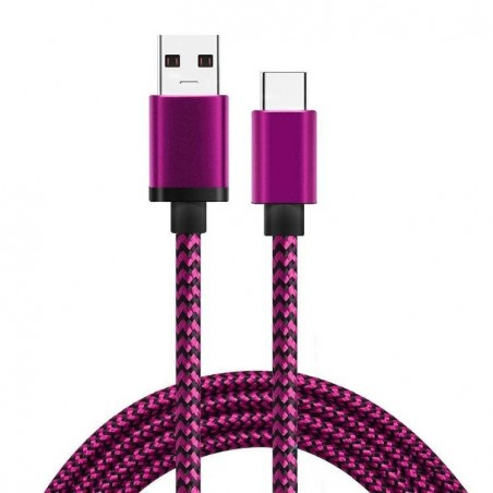 Cable USB Type C en Nylon -Pink 100cm