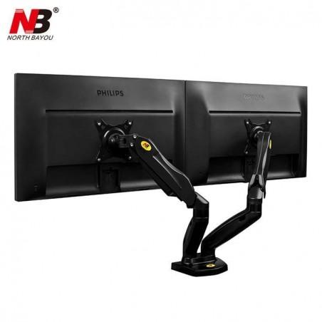 Support NB professionnel de bureau pour 2 écrans (2-6.5kg max chaque bras) Bras Articulé Ergonomique Ressort à Gaz