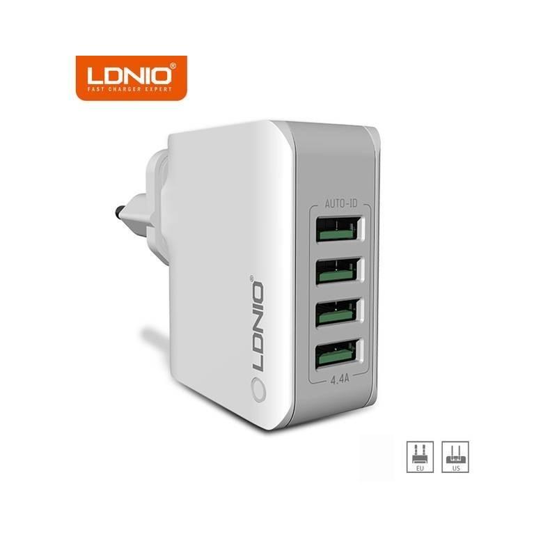 Chargeur USB Multiple, 4 Ports Prise USB 5V/4.4A Adaptateur Prise europe et americaine