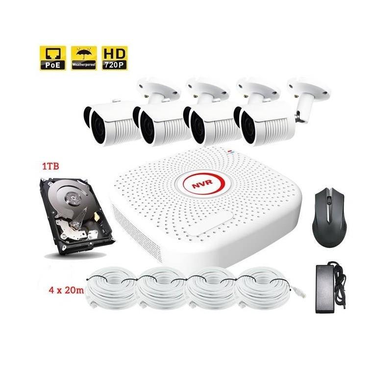 Kit de vidéo surveillance PoE 4pcs