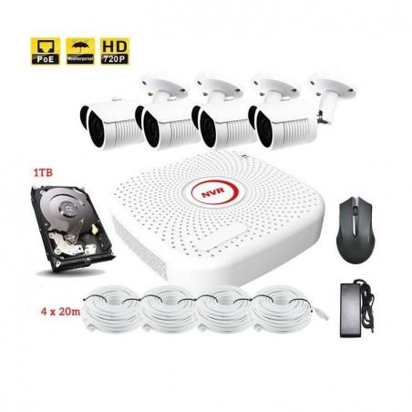 Kit de vidéo surveillance PoE 4pcs IR Camera Jour/Nuit 720P 1TB disque dur
