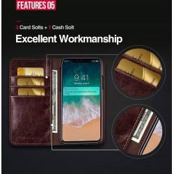 iPhone XR - Etui portefeuille cuir Brun