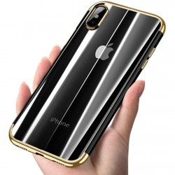 Coque iPhone Xs max Transparente Gel plaquage dorée