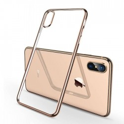 Coque iPhone XS max Transparente Gel - dorée