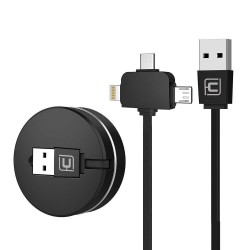CAFELE Câble de Charge USB rétractable pour IP & Micro USB & Type-C 3 en 1