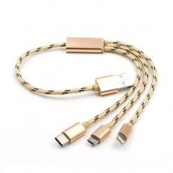 Câble de chargement USB 3 en 1 - Haute vitesse - 0,35 m Type C Grey