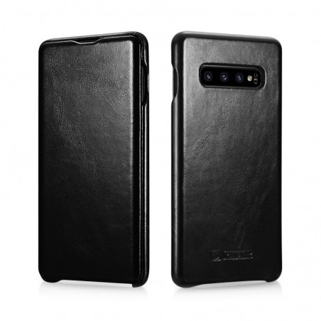 Galaxy S10 plus-étui cuir black de lux