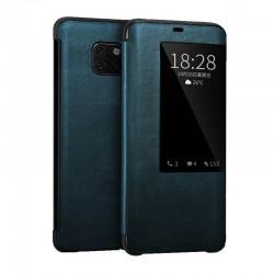 Huawei mate20pro - étui cuir véritable Bleu de lux