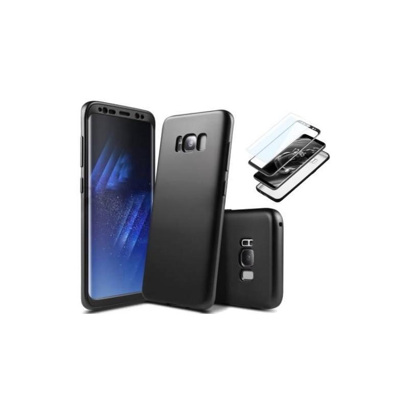 Galaxy S9 Coque abs pc Noir couverture complète et film de protection offert