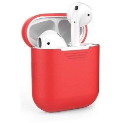 Airpods 2/1- Coque de protection silicone rouge