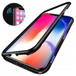 iPhone XR-Coque métallique Magnétique avec protection en verre au dos