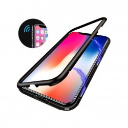 iPhone XS max Coque métallique Magnétique avec protection en verre au dos