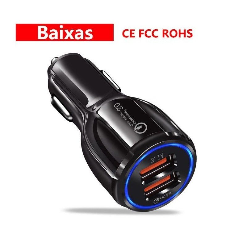 Quick Charge 3.0 Chargeur Voiture 18W 2-Port USB Chargeur Allume Cigar