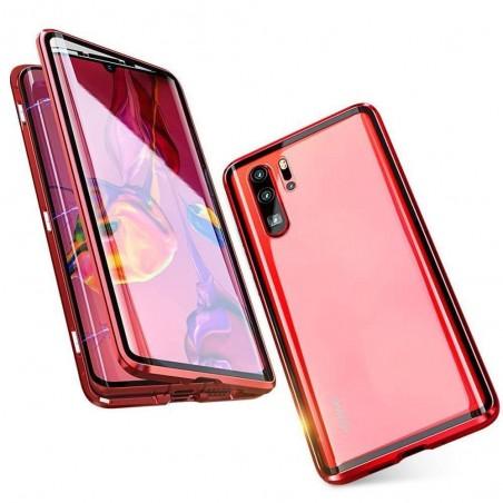 Coque Huawei P30 Transparente Adsorption Magnétique étui Antichoc-Rouge
