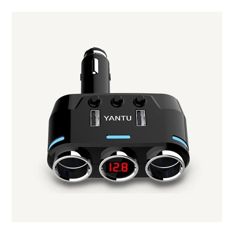 Chargeur de Voiture 2 Ports USB Alliage d'Aluminium Chargeur Allume Cigare avec voltmètre numérique LED, Charge Rapide