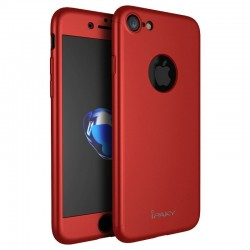 iPhone 7/7plus - coque devant dérrière rouge iPaky® protection écran verre offerte
