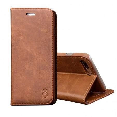iPhone 8plus/7plus -Etui portefeuille support simili cuir souple fermeture magnétique -Brun