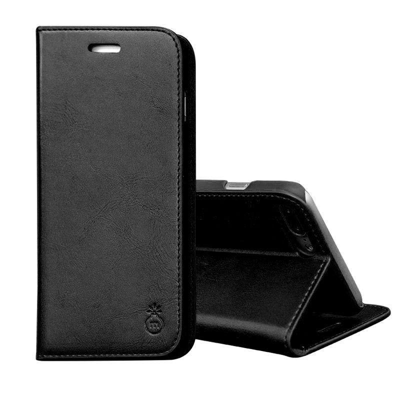 iPhone 8plus/7plus -Etui portefeuille support simili cuir souple fermeture magnétique noir