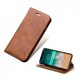 iPhone Xs/X-Etui portefeuille support simili cuir souple fermeture magnétique -Brun