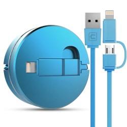 Câble chargeur rétractable IOS&Micro USB CAFELE 1.3m