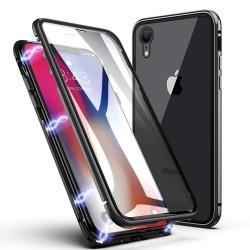 iPhone XR-Coque métallique Magnétique avec protection en verre devant/derrière