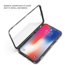 iPhone Xs Max-Coque métallique Magnétique avec protection en verre devant/derrière