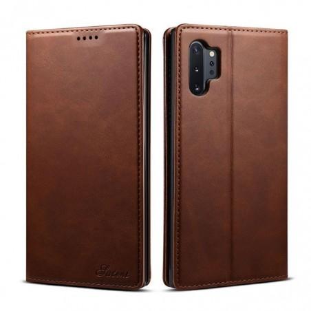 Samsung Galaxy Note10 plus -étui support rétro avec pochettes- Brun