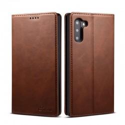 étui support rétro avec pochettes pour Samsung Galaxy Note10 - Brun