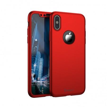 iphone Xs Max - Coque rouge couverture complète, verre offert