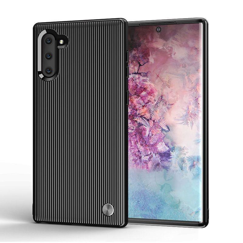 Coque Note 10 Liquid Air Motif Géométrique, Premium TPU Souple, Coque Compatible avec Galaxy Note 10 Mate Noir