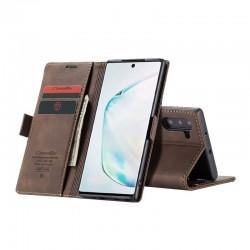 étui support rétro avec pochettes pour Samsung Galaxy Note10 plus - Brun