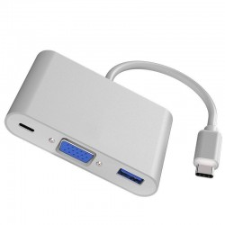 Adaptateur HUB type C à VGA/USB 3.0/Type C pour MacBook iPad Pro Samsung et Huawei etc.