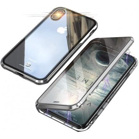 iPhone Xs/X-Coque métallique Magnétique avec protection en verre devant/derrière