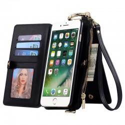 iPhone 11 - Porte Monnaie multifonctionnel pochette similicuir - Noir