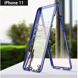 iPhone 11-Coque métallique Magnétique avec protection en verre devant/derrière