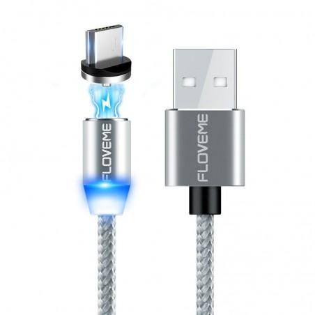 Câble de recharge MicroUSB LED magnétique tressé pour pour iPhone iPad Galaxy, HTC, Google, LG, Sony, Huawei, Xiaomi