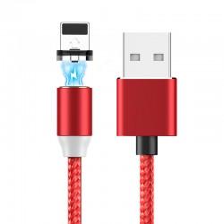 Câble de recharge USB lightning LED magnétique tressé - Rouge