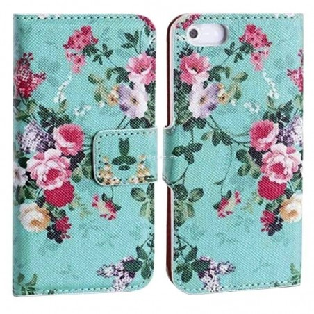 iphone 6-étui support portefeuille fleur