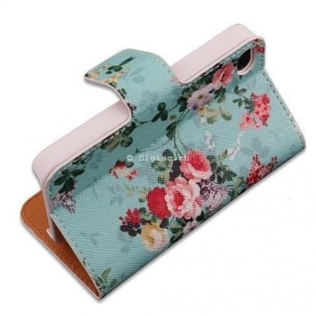 iphone 6 plus-étui support portefeuille fleur