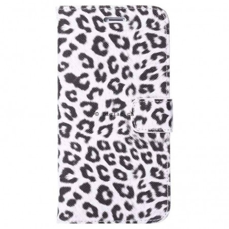 iPhone 6 plus (5.5)- Etui Portefeuille léopard - Blanc