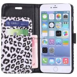 iPhone 6 (4.7'')- Etui Portefeuille léopard - Blanc