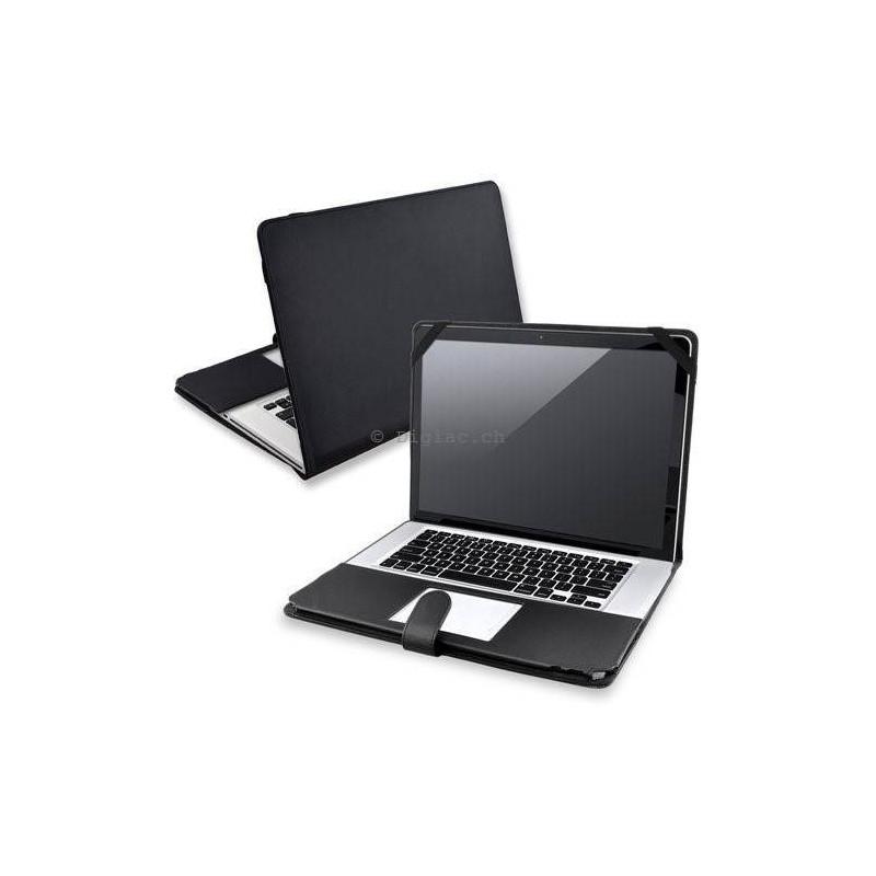 MacBook 13 Pro - Housse etui Coque pochette cuir Noir