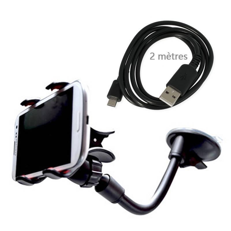 kit voiture support+câble microusb 2 mètre