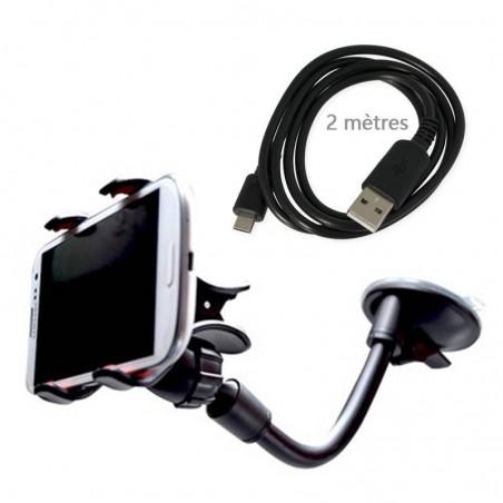 kit voiture support+câble microusb 2 mètres