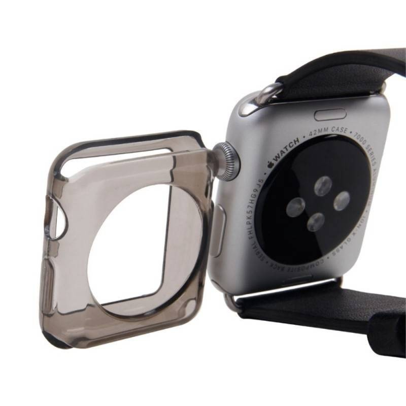 COQUE APPLE WATCH 38 MM SILICONE -Grise transparente