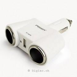 3sur1 Doubleur allume-cigare+port USB PISEN